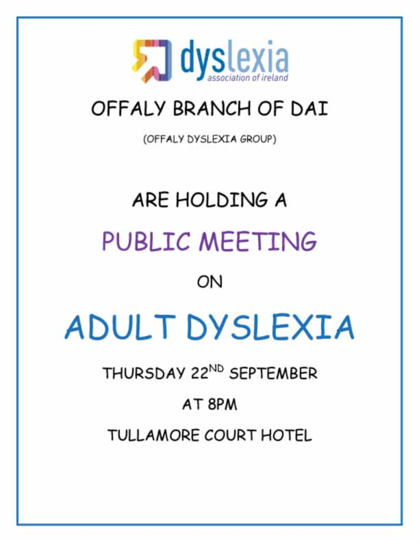 Offaly DAI Public Meeting For Adults With Dyslexia 22-9-2011